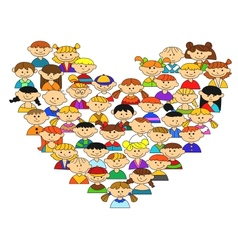 Love heart with childrens vector
