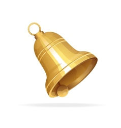 Golden christmas bell on white background vector