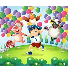 A boy and his animals at the farm with floating vector image