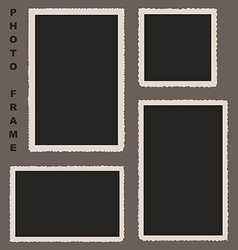 Set of photo frames with rough edges for yo vector