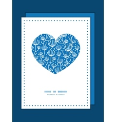 Blue white lineart plants heart symbol vector