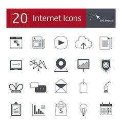 20 icons for the internet vector
