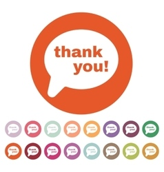 The thank you icon thanks symbol flat vector