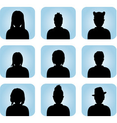 Silhouette of male and female as avatar vector