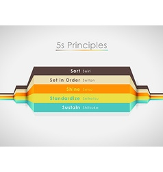 5S principles with colorful lines Horizo vector image vector image