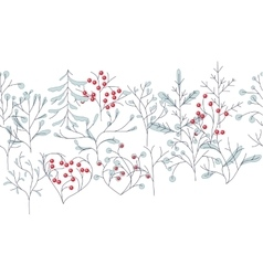 Endless pattern brush with contour winter trees vector