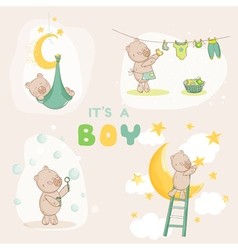 Baby shower set - cute baby bear vector