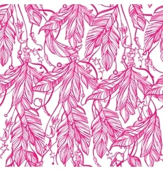 Seamless pattern of a feathers leaves and beads vector