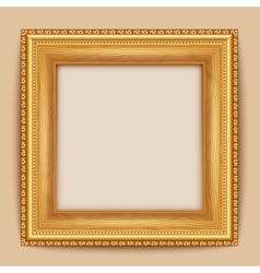 Empty gold frame hanging on the wall vector
