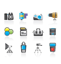 Photography equipment and tools icons vector