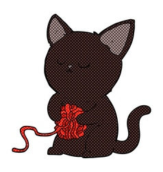 comic cartoon cute black cat playing with ball of vector image