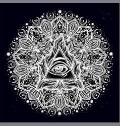 All seeing eye in ornate round mandala pattern vector