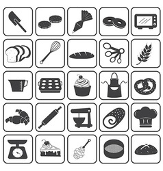 Basic bakery icons set vector