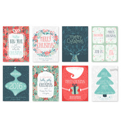 christmas flyers doodle vector image vector image