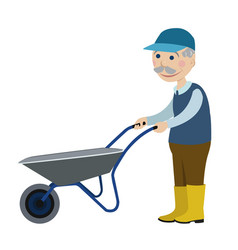 Grandfather with a wheelbarrow vector