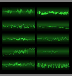 green sound waves set screen of equalizer vector image vector image