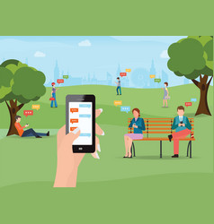 group of people sitting in the park and texting vector image vector image