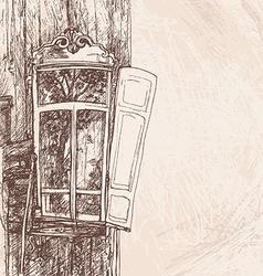 hand drawing wooden window vector image vector image