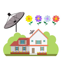 House with satellite dish and flower garden in vector