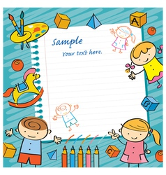 Kids with Paper Background and Toys Frame vector image