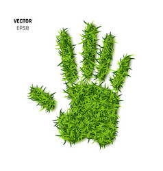 Palm print made of green grass vector