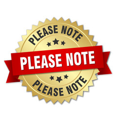 Please note round isolated gold badge vector