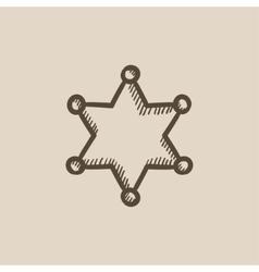 Police star sketch icon vector image vector image