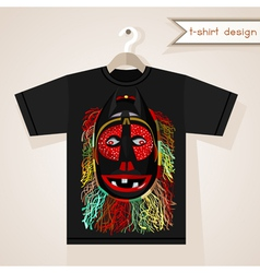 T-shirt design with african mask vector