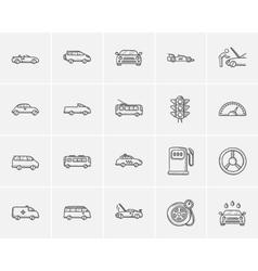 Transportation sketch icon set vector image