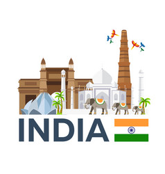 Travel to india skyline taj mahal vector