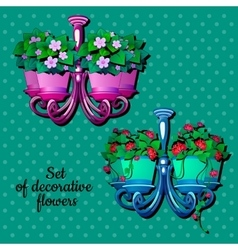 Two flower pot with houseplants interior design vector image
