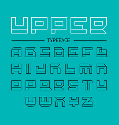 Upper typeface geometrical linear outline font vector