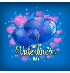 Valentines day background with flying bubbles vector image