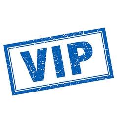 Vip blue square grunge stamp on white vector