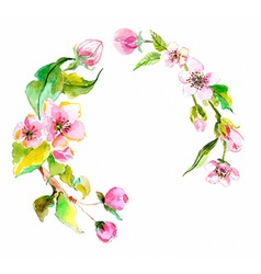Watercolor apple flowers wreath vector image vector image
