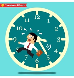 Worried executive running against the time vector image