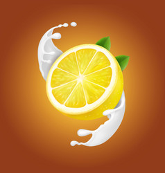 yogurt lemon in milk splash or yogurt flow vector image vector image