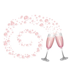 Champagne bubbles swirl background vector