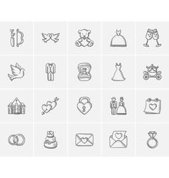 Wedding sketch icon set vector