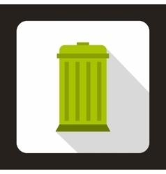 Green trash bin with lid icon flat style vector