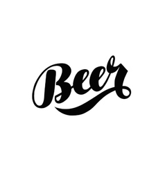 Beer hand lettering alcoholic beverage logo or vector