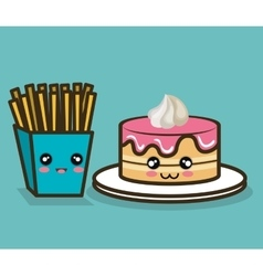 Cake and fries cartoon food fast design graphic vector