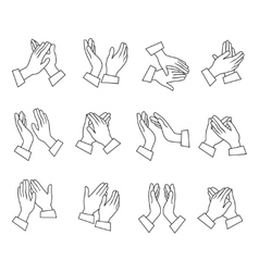 Clapping linear black white icons vector
