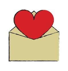 cartoon valentines day romantic mail heart vector image