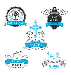 Easter sale paschal discount icons set vector