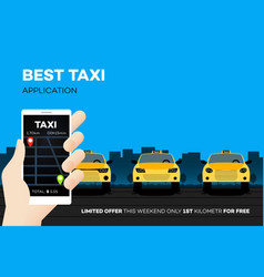 best taxi mobile application advertising vector image