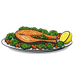 baked salmon vector image