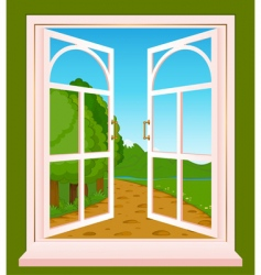 Landscape through window vector