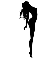 Silhouette of naked girl in profile vector
