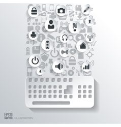 Keyboard icon flat abstract background with web vector